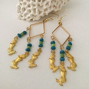 Mermaids Earrings, Beach Turquoise Earrings